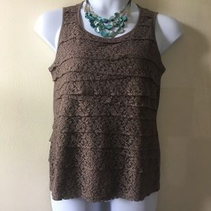 Chico's brown lace tank- Size 1.